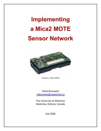 Implementing a Mica2 MOTE Sensor Network - Free