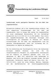 Pressemitteilung des Landkreises Dillingen