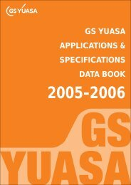 GS YUASA APPLICATIONS & SPECIFICATIONS DATA BOOK