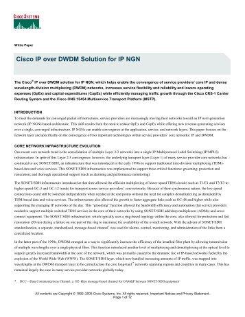 Cisco IP over DWDM Solution for IP NGN - Light Reading