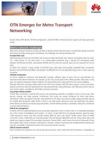 OTN Emerges for Metro Transport Networking - Light Reading