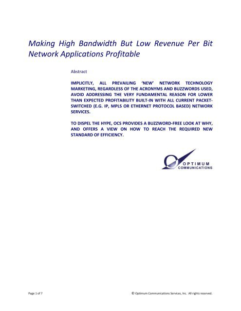 Making High Bandwidth But Low Revenue Per Bit ... - Light Reading