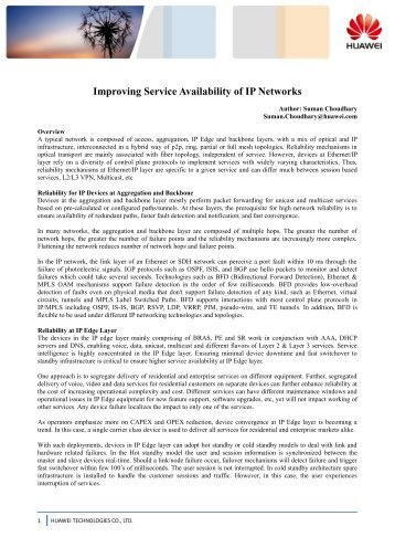 Improving Service Availability of IP Networks - Light Reading