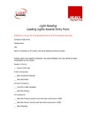 Light Reading Leading Lights Awards Entry Form