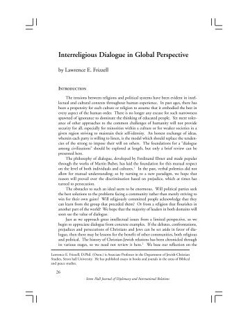 Interreligious Dialogue in Global Perspective - Seton Hall University