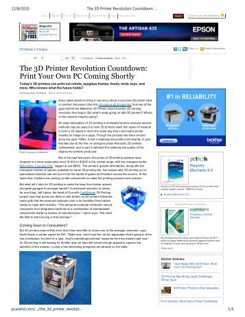 The 3D Printer Revolution Countdown - Cornell Creative Machines ...