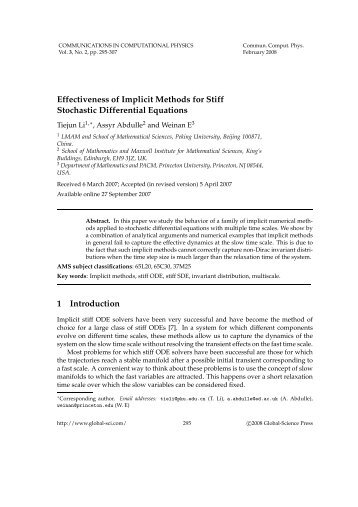 Effectiveness of Implicit Methods for Stiff Stochastic Differential ...