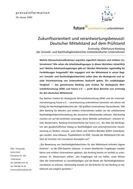 Zukunftsorientiert und verantwortungsbewusst: Deutscher ...
