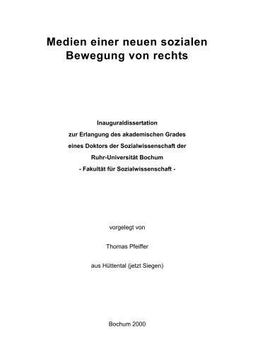 Medien einer neuen sozialen Bewegung von rechts - Ruhr ...