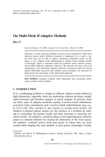 On Multi-Mesh H-Adaptive Methods