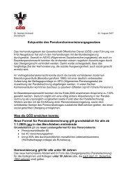 Eckpunkte zum Pensionsharmonisierungsgesetz