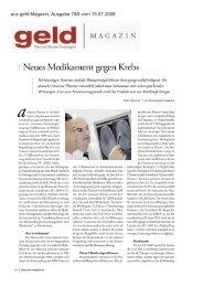aus geld-Magazin, Ausgabe 7&8 vom 15.07.2008 - Antisense Pharma