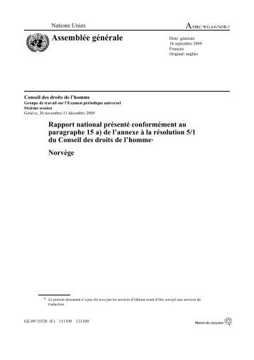 Rapport national