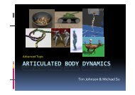 articulated body dynamics - Geometric Algorithms for Modeling ...