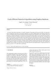 Cache-Efficient Numerical Algorithms using Graphics Hardware