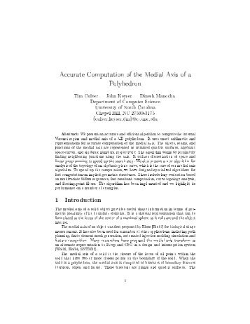 Accurate Computation of the Medial Axis of a Polyhedron 1 ...