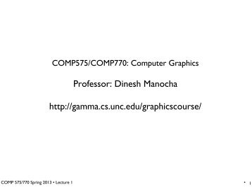 Computer graphics - Geometric Algorithms for Modeling, Motion ...