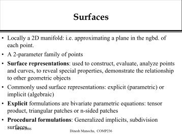 Surfaces - Geometric Algorithms for Modeling, Motion, and Animation