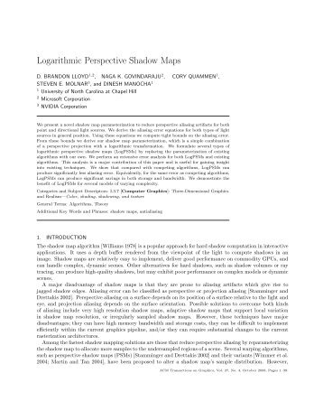 Logarithmic Perspective Shadow Maps - Geometric Algorithms for ...
