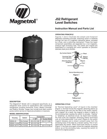 T10 float level switch sales literature 44 121 magnetrol 46 627 j52 refrigerant level switches magnetrol international sciox Image collections