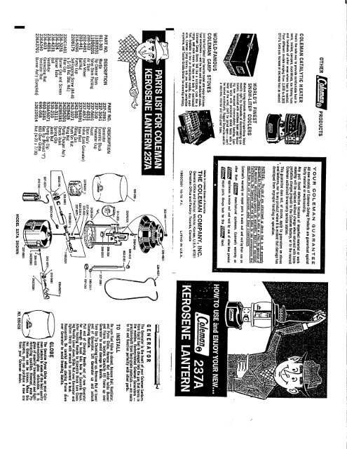 1960's Coleman 237A Kerosene Lantern Instructions