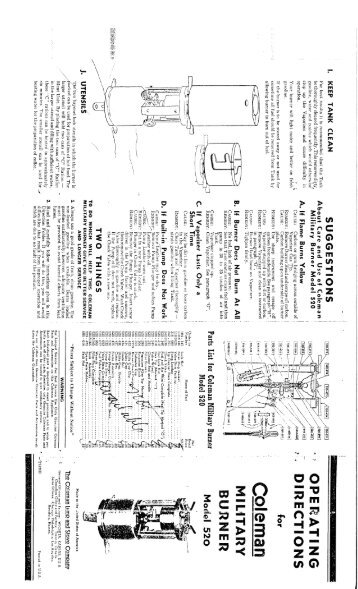 1930 Coleman 480 Hot Ray Heater Instructions