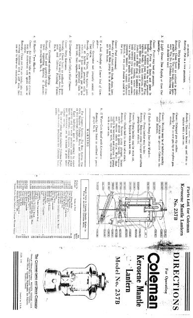 1944 Coleman 237B Kerosene Lantern Instructions