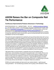 AXION Raises the Bar on Composite Rail Tie Performance