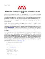 April 27, 2009 ATA Announces Conference Call to Discuss Fourth ...