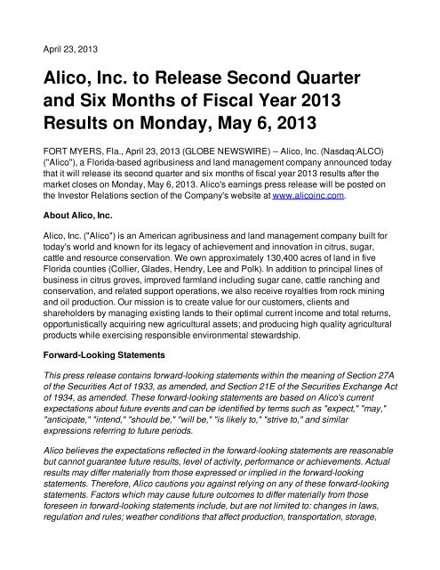 Alico, Inc  to Release Second Quarter and Six Months of Fiscal Year