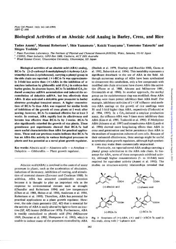 Biological Activities of an Abscisic Acid Analog in Barley, Cress, and ...
