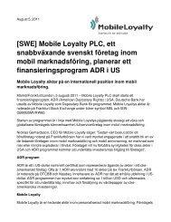 Mobile Loyalty PLC, ett snabbväxande svenskt företag inom mobil ...