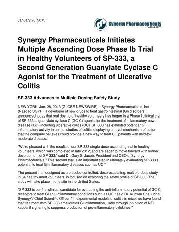 Synergy Pharmaceuticals Initiates Multiple Ascending Dose Phase ...