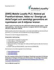 [SWE] Mobile Loyalty PLC: Noterat på Frankfurt-börsen, listas nu i ...