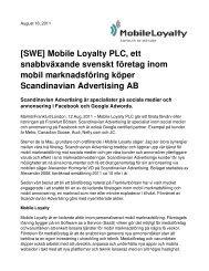 [SWE] Mobile Loyalty PLC, ett snabbväxande svenskt företag inom ...