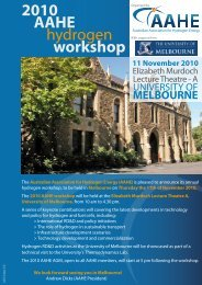 2010 AAHE hydrogen workshop - Australian Institute of Energy