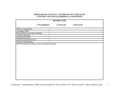 nih board of contract awards review checklist construction