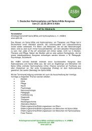 22.03.2014 in Köln Call for Abstracts - ASbH