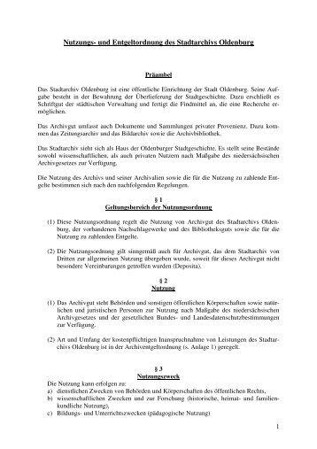 Nutzungs- und Entgeltordnung des Stadtarchivs Oldenburg