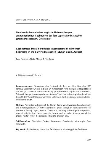 Geochemische und mineralogische Untersuchungen an ...