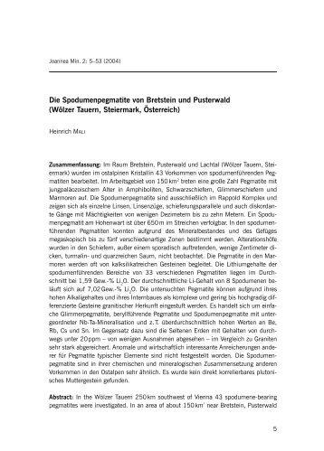 Die Spodumenpegmatite von Bretstein und Pusterwald (Wölzer ...