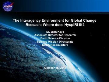 The Interagency Environment for Global Change Reseach - HyspIRI ...