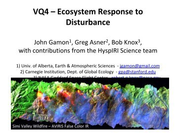 VQ4 – Ecosystem Response to Disturbance - NASA