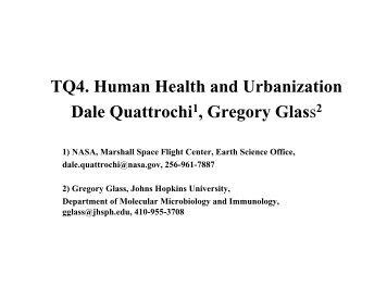 TQ4. Human Health and Urbanization Dale Quattrochi ... - NASA