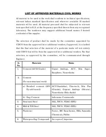 LIST OF APPROVED MATERIALS CIVIL WORKS