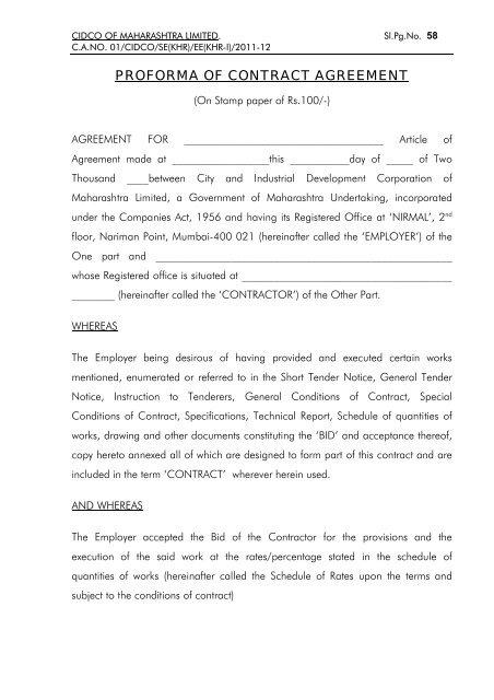 Proforma Of Contract Agreement Cidco Maharashtra Ltd