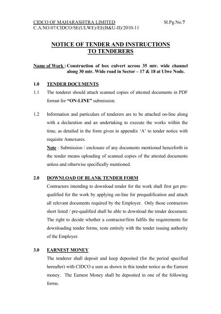 notice of tender and instructions to tenderers - CIDCO Maharashtra