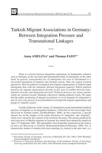 Turkish Migrant Associations in Germany: Between Integration ...