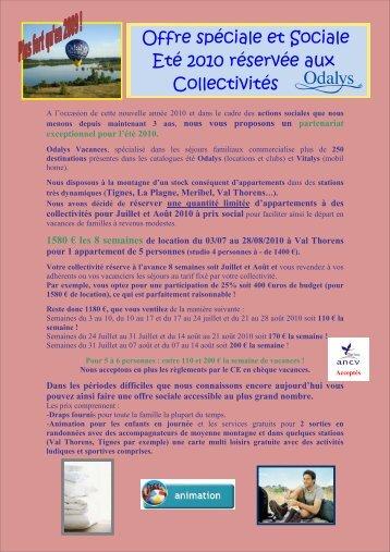 OFFRE LIMITEE SOCIALE MONTAGNE ETE 2010 - Ascee83