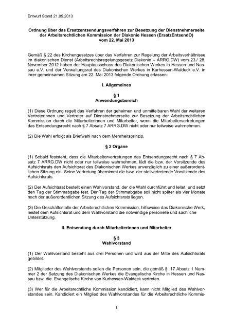 Ersatzentsendungsordnung - Diakonisches Werk Hessen-Nassau